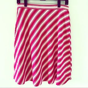 Talbots Striped A-Line Stretchy Pink/White Skirt